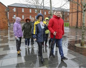 Some walkers from the Irish Street Community Centre Older Peoples' Group braved Storm Erik to take in the sights and enjoy the cultural heritage of the Waterside, with Alison Wallace and Nigel Hagon.