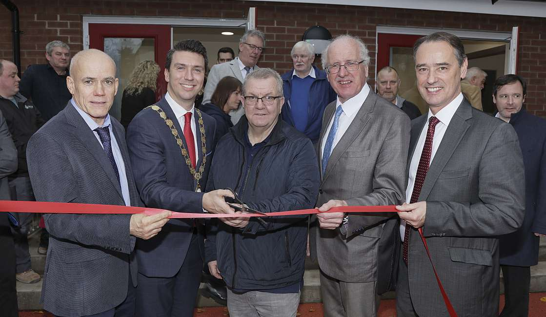Dignitaries cut the ribbon to unveil the renovation work
